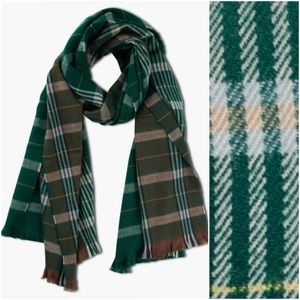 Lucky Brand Green Patchwork Plaid Check Scarf NEW